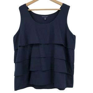 Tommy Hilfiger Tank Top Tiered Ruffled Navy Blue
